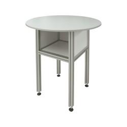 Table range classeur en aluminium H.1100 x Diam.900mm, plateau mélaminé 19mm