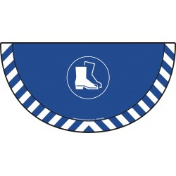 Picto demi cercle Cat.1 - visuel M008 - Port des chaussures de sécurité obligatoire