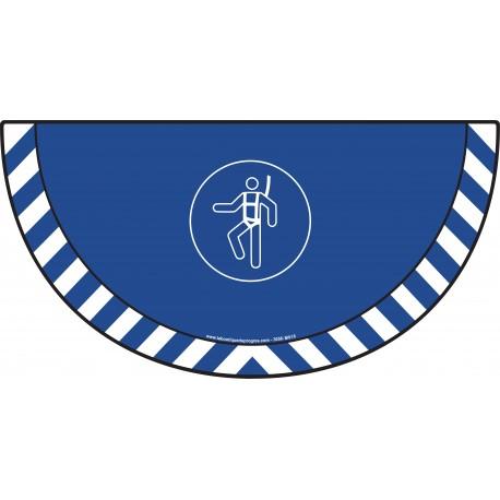 Picto demi cercle Cat.1 - visuel M018 - Harnais de sécurité obligatoire