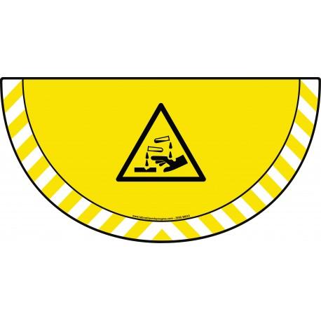 Picto demi cercle Cat.1 - visuel W023 - Danger substances corrosives