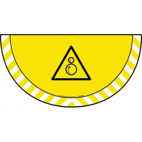 Picto demi cercle Cat.1 - visuel W025 - Danger rouleaux contrarotatifs