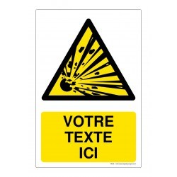 W002 - Danger matières explosives + Texte