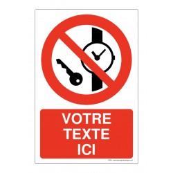 P008 - Articles métalliques ou montres interdits + Texte