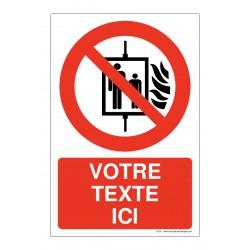 P020 - Ascenseur interdit en cas d'incendie + Texte