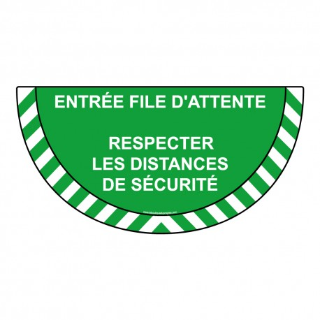 Marquage au sol - File d'attente - demi cercle - Vert
