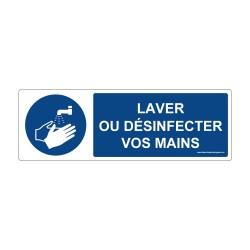 """Panneau - M011 + Texte : """"LAVER OU DESINFECTER VOS MAINS"""" - Horizontal"""