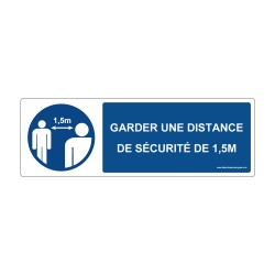 """Panneau - M159 + texte : """" GARDER UNE DISTANCE DE SECURITE DE 1,5M """" - Horizontal"""