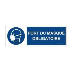 """Panneau - M016 + texte : """" PORT DU MASQUE OBLIGATOIRE """" - Horizontal"""