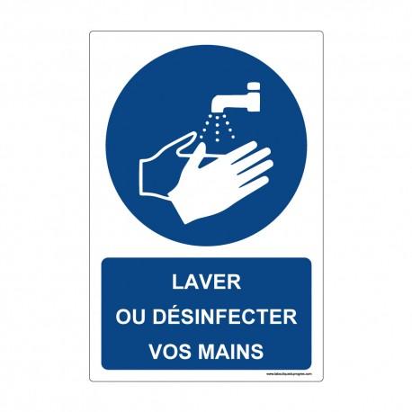 """Panneau - M011 + Texte : """"LAVER OU DESINFECTER VOS MAINS"""" - Vertical"""