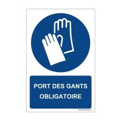 """Panneau - M009 + Texte : """"PORT DES GANTS OBLIGATOIRE"""" - Vertical"""