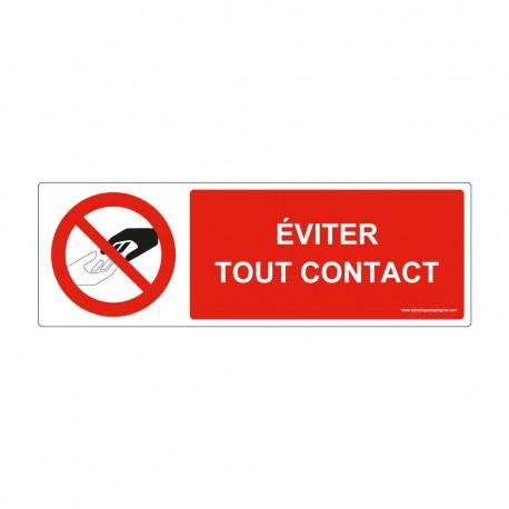 "Panneau - P176 + texte : "" EVITER TOUT CONTACT "" - Horizontal"