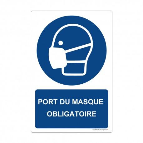"""Panneau - M016 + texte : """" PORT DU MASQUE OBLIGATOIRE """" - Vertical"""