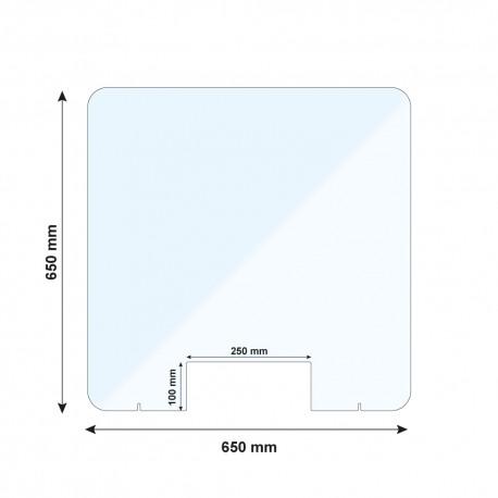 Vitre de protection PMMA - H. 650 x L. 650 mm - Avec passe documents