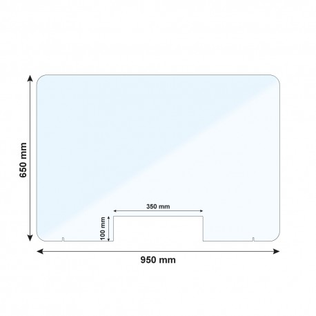 Vitre de protection PMMA - H. 650 x L. 950 mm - Avec passe documents