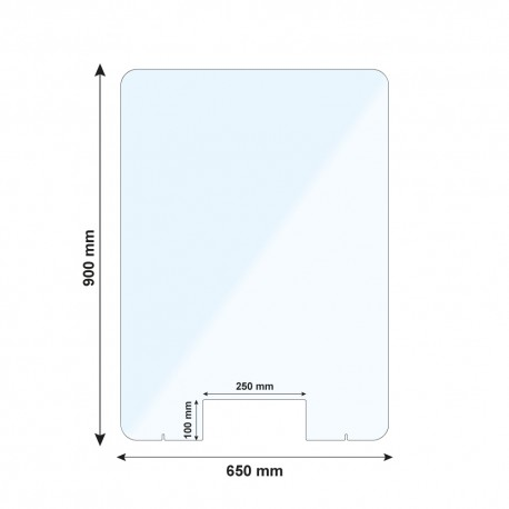Vitre de protection PMMA - H. 900 x L. 650 mm - Avec passe documents