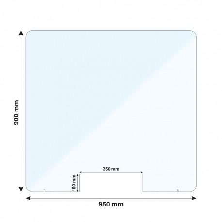 Vitre de protection PMMA - H. 900 x L. 950 mm - Avec passe documents