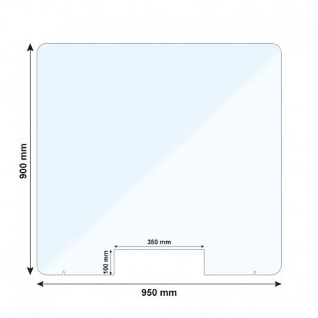 Vitre de protection verre Sécurit 6 mm - H. 900 x L. 950 mm - Avec passe documents