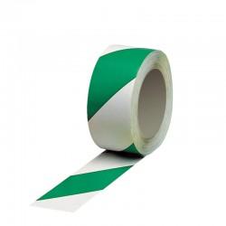 Ruban adhésif vert /blanc tracage au sol - 50mm x 33m
