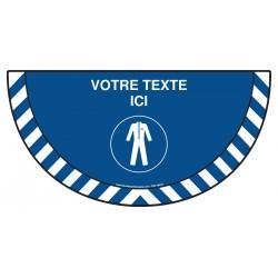 Picto demi cercle Cat.1 - M010 - Port de la protection de corps obligatoire + zone de texte