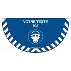 Picto demi cercle Cat.1 - M017 - Masque de protection respiratoire obligatoire + zone de texte