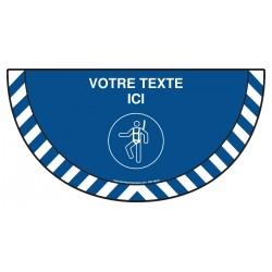 Picto demi cercle Cat.1 - M018 - Harnais de sécurité obligatoire + zone de texte
