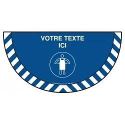 Picto demi cercle Cat.1 - M026 - Tablier de protection obligatoire + zone de texte