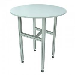 Table aluminium H.1100 x Diam.900mm, plateau mélaminé 19mm