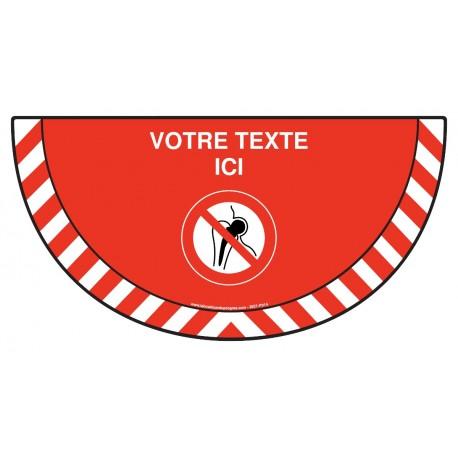 Picto demi cercle Cat.1 - P014 - Implants métalliques : entrée interdite + zone de texte