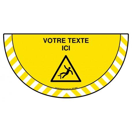 Picto demi cercle Cat.1 - W008 - Danger de chute + zone de texte