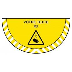 Picto demi cercle Cat.1 - W015 - Danger charges suspendues + zone de texte
