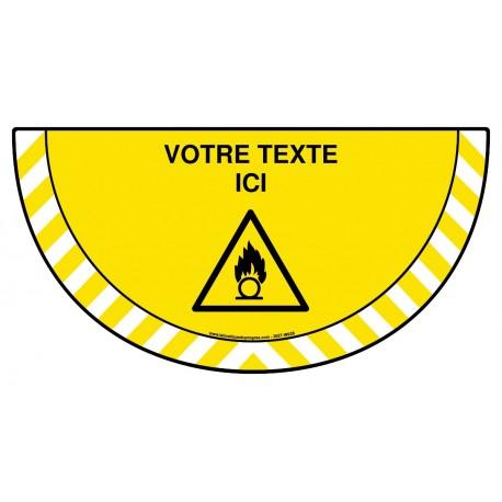 Picto demi cercle Cat.1 - W028 - Danger substances comburantes + zone de texte