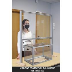 Vitre de protection pour urne - PMMA 4mm - H. 1100 x L. 1000 mm - structure aluminium anodisé