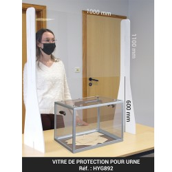 Vitre de protection pour urne - PMMA 4mm - H. 1100 x L. 1000 mm - pieds PVC expansé 8 mm