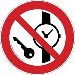Pictogramme Articles métalliques ou montre interdits P008