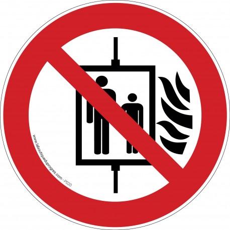 Pictogramme Ascenseur interdit en cas d'incendie P020