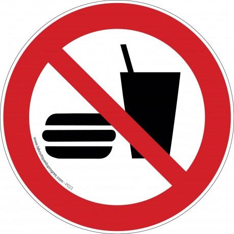 Pictogramme Interdiction de manger ou boire P022