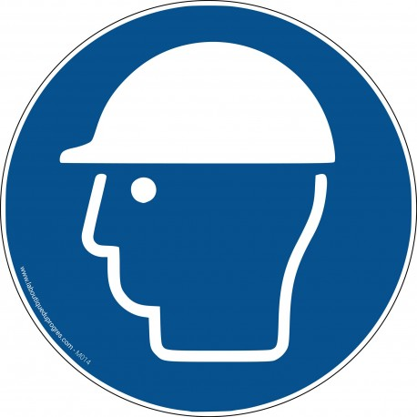 Pictogramme Port du casque de protection obligatoire M014