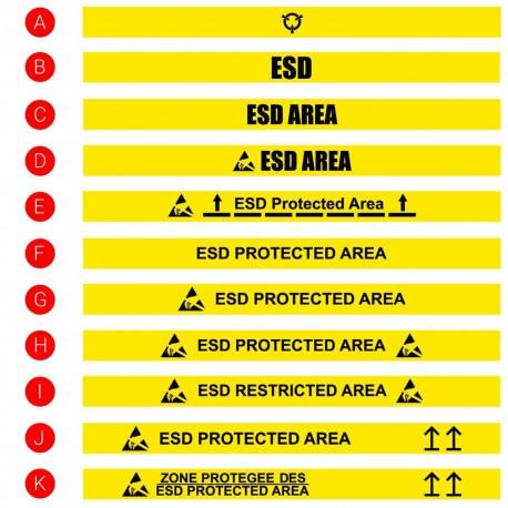 Ruban adhésif de traçage au sol - 50mm x 15m - IMPRIME ESD - Catégorie 3
